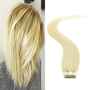 LaBetti tape In Human Hair Extensions - 16 18 20 22 24 Inch 20pcs 30g-70g Set - Silky Straight Skin Weft Human Remy Hair Ash Blonde Color(20inch, #60)