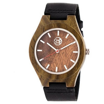 Earth Wood Aztec Men's Leather-Band Watch