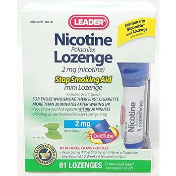 Leader Nicotine Lozenges 2 mg, Stop Smoking Aid, 81 Lozenges Per Box (6 Boxes)