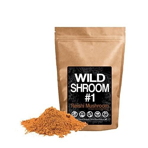 Reishi Mushroom Extract Powder 10:1 by Wild Foods | Fruiting Bodies, Vegan, Paleo, All-Natural Adaptogenic Immune Function, Sleep Aid, Nootropic