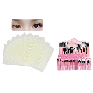 Zodaca PINK Pro 32Pcs Powder Eyeshadow Foundation Blending Eyeliner Cosmetic Makeup Brush Set with Pouch Bag Case (32 COUNT) + 160 Pairs Breathable Double Eyelid Sticker Tape Narrow