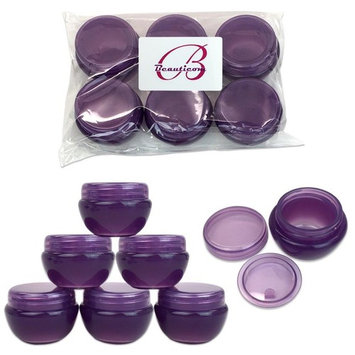 Beauticom 6 Pieces High Quality 10 Gram 10 ml (0.3 oz) Frosted Purple Plastic Round Cream Salve Cosmetic Sample Jars with Liners
