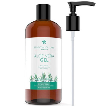 Aloe Vera Gel, 8 oz, Organic, Pure and Natural - Instant Hydrating Relief For Irritated Skin by Essential Oil Labs