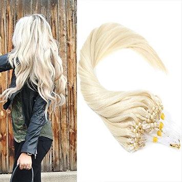VeSunny 18inch Human Hair Extensions Micro Ring Color #60 Platium Blonde Micro Loop Beads Human Hair Extensions 1g/strand totally 50s per pack []