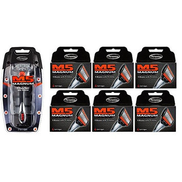 Personna M5 Magnum 5 Razor with Trimmer + M5 Magnum 5 Refill Razor Blade Cartridges, 4 ct. (Pack of 6) + FREE Travel Toothbrush, Color May Vary