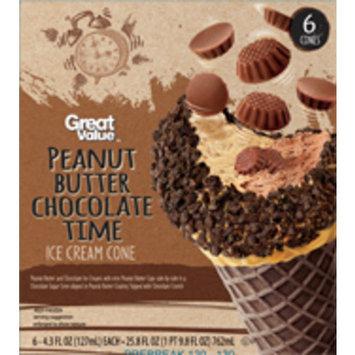 Great Value Peanut Butter Chocolate Time Ice Cream Cones, 6 - 4.3 oz cones