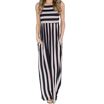 Women Dress, Dingji Womens Floor-Length Long Loose Summer Sleeveless Striated Dress