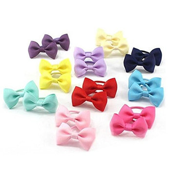 Baby Girls Bow Elastic Ties Hair Ties Ponytail Holders Hair Bands Head Bands Ropes Toddler Kids Fabric Hair Holder 20PCS