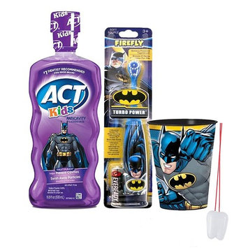 Batman Super Hero 3pc Bright Smile Oral Hygiene Set! Batman Turbo Powered Toothbrush, Mouthwash & Rinse Cup! Plus Bonus 'Remember To Brush