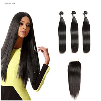 Suerkeep 8A Brazilian Straight Hair Bundles With Lace Free Part Closure Virgin Unprocessed Soft And Silky Double Strong Weft Human Hair Extensions...