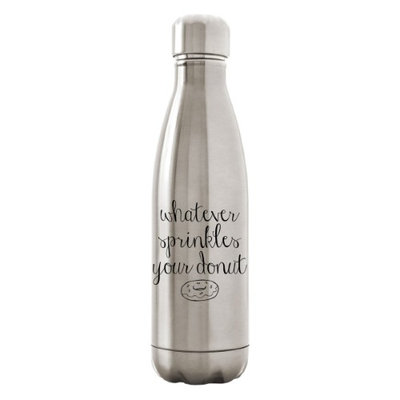 Custom Apparel R Us Stainless Steel Water Bottle Double Wall 17 oz Whatever Sprinkles Your Donut