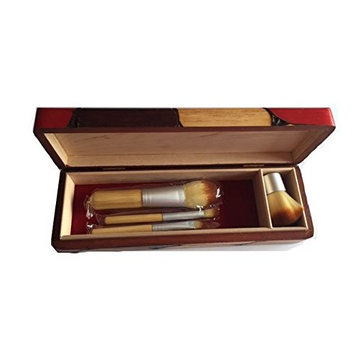 Handcrafted Wooden Make Up Brush Holder and Brush Set, Bamboo Make Up brush Set, Beautiful and Unique Box Made of Wood. Ecofriendly gift box.
