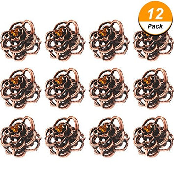 Maxdot 12 Pack Vintage Rose Hair Claws Clamps Metal Hair Clips No-slip Hair Grip for Girls and Ladies