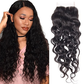 RECOOL Hair Water Wave Closure Human Hair Extensions one Piece Wet and Wavy Lace Closure Separately for Sale Natural Color
