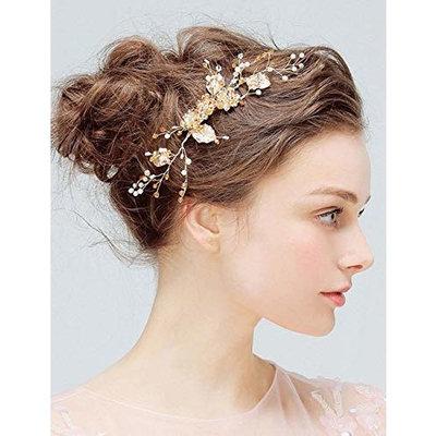 Deniferymakeup Bridal Comb Floral Gold Crystal Leaf Bridal Hair Comb Vintage Inspired Hairpiece Crystal Comb Veil Clip Bridal Hair Accessories
