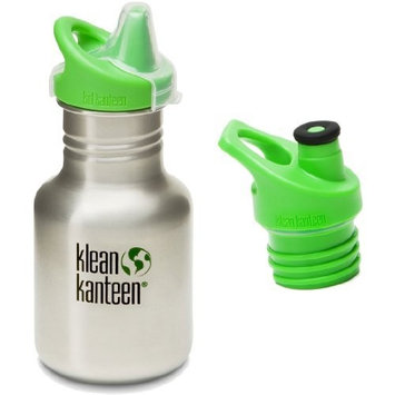 Klean Kanteen 12 oz Stainless Steel Water Bottle with 2 Caps (Kid Kanteen Sippy Cap and Sports Cap 3.0 in Bright Green) - All Colors