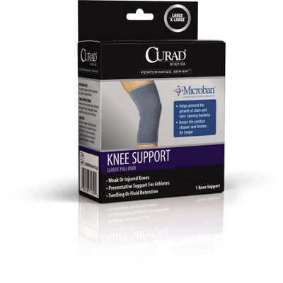 Curad Elastic Knee Supports with Microban, Gray, Large/X Large