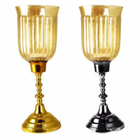 Benzara Assortment Of 2 Of Hurricane Metal And Glass Candle Holder, Gold And Silver