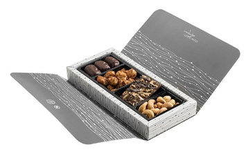 The Nuttery Ny The Nuttery Chocolate and Nut Corporate Gift Box - 4 Sections (Grey)