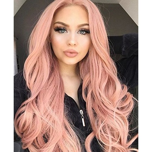 ENTRANCED STYLES Synthetic Pink Wig for Women Long Wavy Wigs with Side Part Orange Pink Wigs for Girls Heat Resistant Fiber Cosplay Wigs