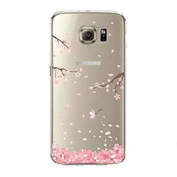 Urberry Samsung Galaxy S6 Edge Cover, Cherry Leaf Falling TPU Case for Samsung Galaxy S6 Edge with Screen Protector