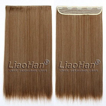 Straight Long Clip in Hair Extensions 3/4 Full Head Synthetic Hair Clip in on Mixed Brown Hairpieces