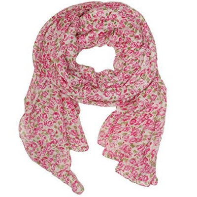Floral Pink Rose Print lightweight Fashion Scarf