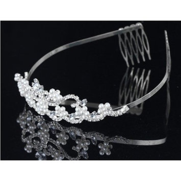 Flower Pearl Bridal Wedding Tiara Crystals Rhinestones Crown Prom Party T0082 (Ship From USA)