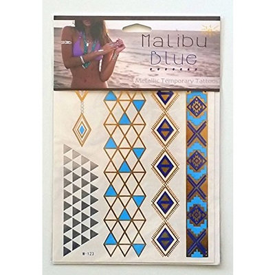 *Festival Flash Temporary Tattoos* Stylish & Chic Tattoo Jewelry - 29 Metallic Tattoos- Gold, Silver, Turquoise. Long Lasting Formula. Perfect festival gear for Burning Man Costumes & EDC (Penelope) : Beauty