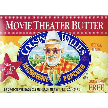 Cousin Willies Movie Theater Butter Microwave Popcorn 8.7 Ounces (Pack of 3)