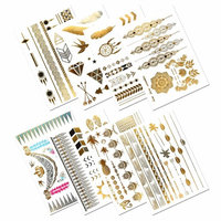 Metallic Temporary Tattoos, PrettyDate 150+ Henna & Boho Designs in Gold Silver Black, Fake Glitter Jewelry Tattoos- Bracelets, Necklaces, Wrist, Anklets and Armbands(8 Sheets) [Boho Collection]