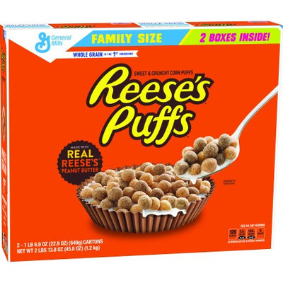 General Mills Reese's Puffsâ ¢ Peanut Butter Puffs Cereal Family Size 2 Pack 22.9 oz Boxes