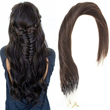 Sunny Micro Link Hair Extensions Remy Human Hair 50Strands Full Head Darkest Brown (Col #2) Ring Loop Hair Extensions 18 Inches 50gram