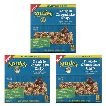 Annies Gluten Free Chewy Granola Bars, Double Chocolate Chip, 0.98 Oz Bars, 5 Count (Pack of 3)
