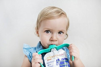 PouchBuddy (Turquoise) - Baby Self Feeding PouchBuddy. Works with Most Baby Food Pouches Including but Not Limited to Plum, Happy Tot, Happy Baby, Happy Family, Earths Best, Gerber, Other National Brands As Well As ReusableRefillable