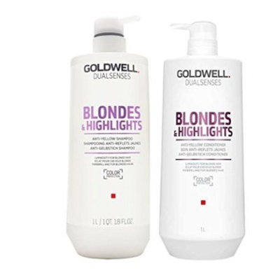 Goldwell Dualsenses Blondes & Highlight Anti-Yellow Shampoo & Conditioner Duo FadeStop Repair 33.8oz