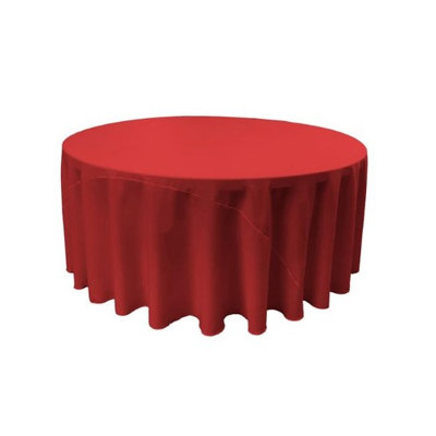 LA Linen TCpop132R-RedP98 Polyester Poplin Tablecloth Red - 132 in. Round