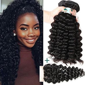 Brazilian Deep Wave Human Hair Bundles with Lace Closure 7A Unprocessed Virgin Hair Extensions 3 Bundles with Free Part Closure Natural Color (14 16 18 +12)