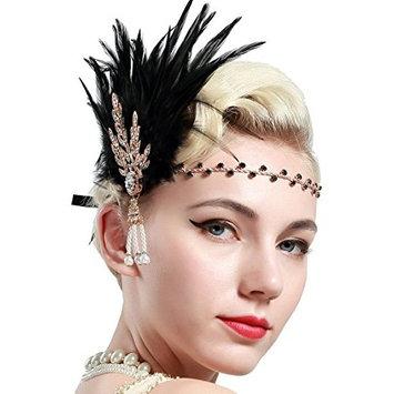 BABEYOND Art Deco 1920's Flapper Great Gatsby Inspired Leaf Medallion Pearl Headband Black Feather