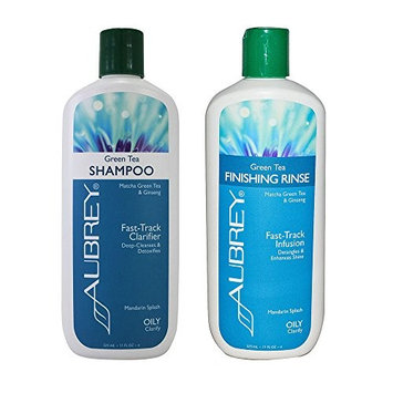 Aubrey Clarifying Matcha Green Tea Shampoo and Conditioner Bundle For Oily Hair, Dandruff & Flaky Scalp With Aloe Vera, Sweet Almond Essential Oil & Ginseng Extract, Paraben & Sulfate Free, 11 oz ea.