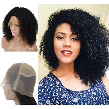 Curly Full Lace Wigs Human Hair Pre Plucked 130% Density with Baby Hair Natural Hairline for Black Women, Brazilian Virgin Hair Wigs Natural Color 12inch (#1B) by Veer