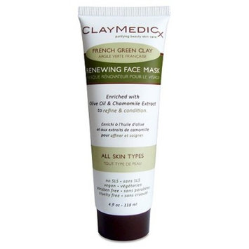 Claymedicx French Green Clay Renewing Face Mask - Olive Oil & Chamomile - 4oz
