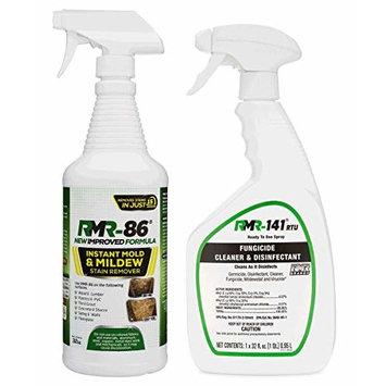Complete Mold Killer & Remover DIY Bundle - Kill, Clean and Prevent Mold & Mildew(1-32oz RMR 86, 1-32oz RMR-141 RTU & 2 Trigger sprayers)