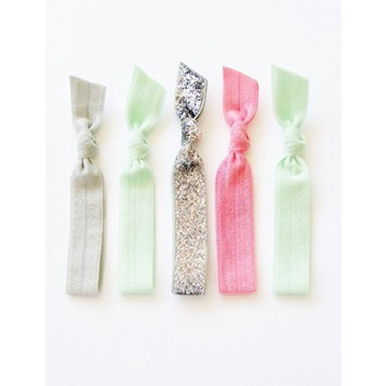 5 Elastic Ribbon Hair Ties, the Glitter Mint Set By Lucky Girl Hair Ties Brand