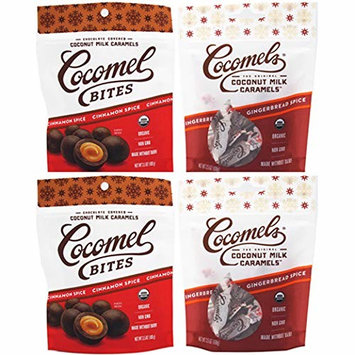 Cocomels Coconut Milk Caramels Mixed Pack- Organic, Made Without Dairy, Vegan, Kosher, CINNAMON SPICE & GINGERBREAD SPICE - 4 PACK [Cinnamon Spice/Gingerbread Spice]