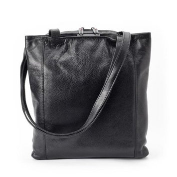 Winn International Leather Tote Bag Handbag with Three Compartments, , Size: one size Black