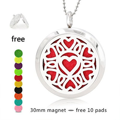Essential Oil Diffuser Pendant Necklace, My Love pattern Aromatherapy Diffuser Magnetic Locket Necklaces