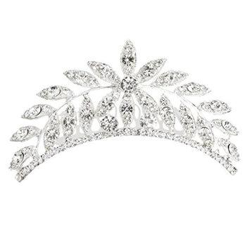 MagiDeal Wedding Bridal Prom Diamante Crystal Rhinestone Leaf Hair Comb Slide Clip