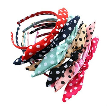 Pack of 9 Polka Dot Bow Style Tie Headband Hair Hoop - Fashion Fabric Covered Rabbit Ears Hair Band for Women Girls