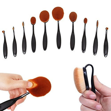 Queentools Professional 10-Piece Soft Oval Makeup Brush Set for women